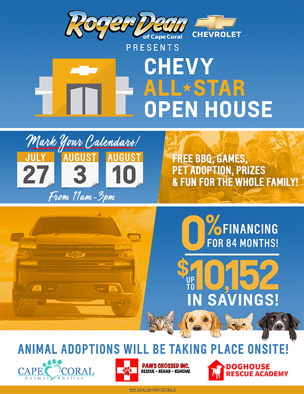 Roger Dean Chevy >> Roger Dean Chevrolet Chevy All Star Open House - Cape Coral Animal Shelter